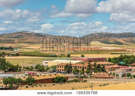 Consuegra Spain - May 21 2014: View of the surroundings of the town of Consuegra Castilla La Mancha Spain.