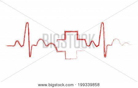 Red heartbeat sign with medical cross. Vector illustration. Hand drawn Medical symbol in flat design.