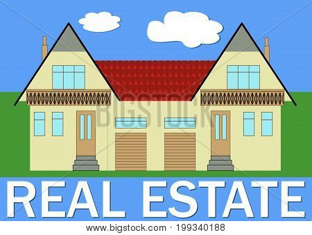 Real estate banner with stylized family house illustration Functional living for two families with garages vector EPS 10