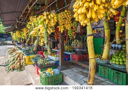 Shop and greengrocer with all kinds of vegetables and tropical fruits in the major city Galle in the south of Sri Lanka. The city is a spot for vending fruits and vegetables of all kinds