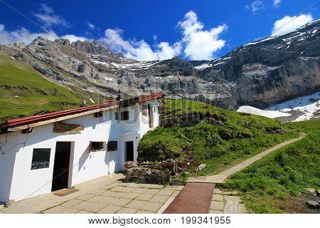 Alpine hut at Lac D'anteme, Swiss Alps