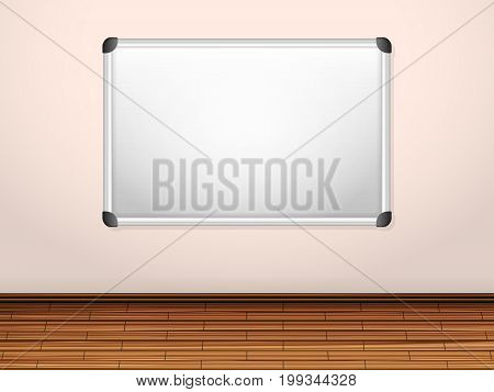 White board on a wall. Vector illustration.
