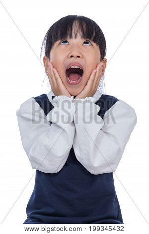 Asian Little Chinese Girl Screaming With Hands On Her Face