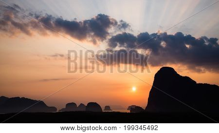 archipelago Andaman sea Morning atmosphere Sun rises. Asia Thailand