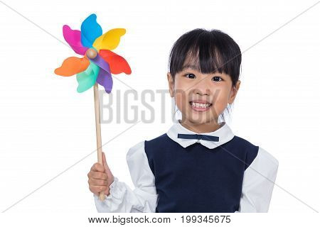 Asian Little Chinese Girl Playing Colorful Pinwheel