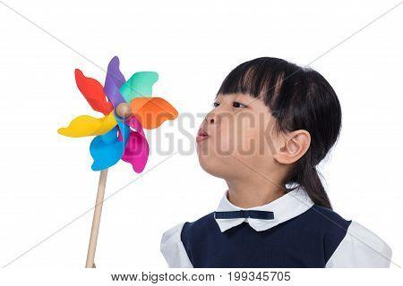 Asian Little Chinese Girl Playing Colorful Pinwheel