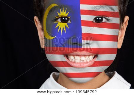 Asian Chinese Little Girl With Malaysian Flag On Face
