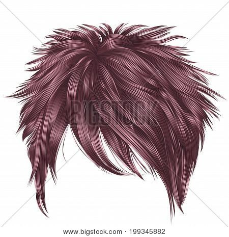 trendy woman short  hairs  сopper pink   colors .  fringe . fashion beauty style . realistic  3d .