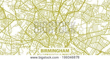 Detailed vector map of Birmingham in gold with title, scale 1:30 000, England, UK