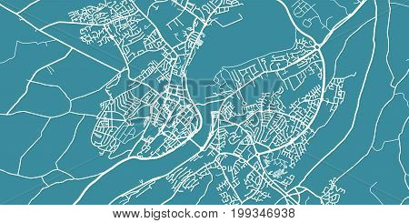 Detailed vector map of Derry/Londonderry, scale 1:30 000, Northern Ireland