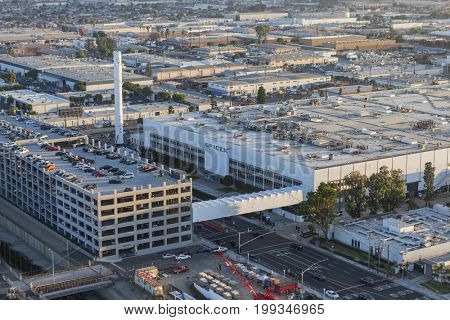 Hawthorne, California, USA - August 7, 2017:  Aerial view of the SPACEX headquarters and rocket manufacturing building.