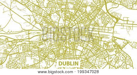 Detailed vector map of Dublin in gold with title, scale 1:30 000, Ireland