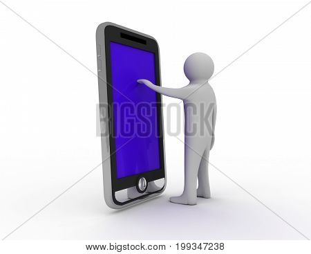 man with phone . 3d rendered illustration