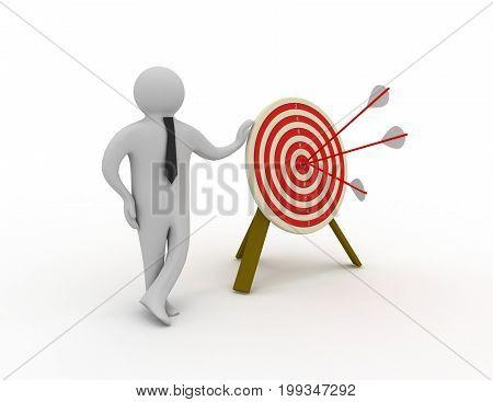 3d mam with target . 3d rendered illustration