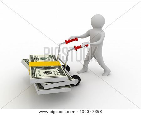Man push hand truck with dollars . 3d rendered illustration