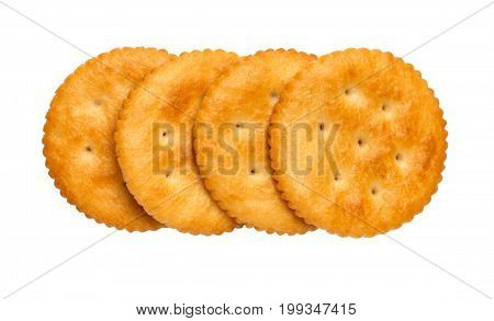 Dry cracker cookies isolated on white background cutout top view concept of food