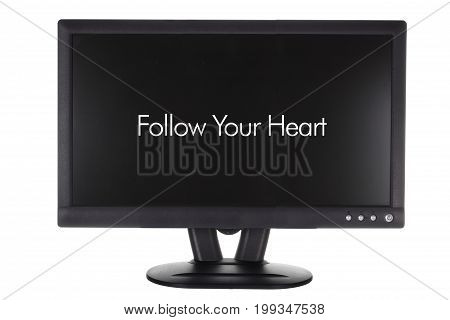 Monitor with Words of Inspiration on White Background