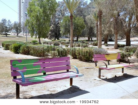 Two colour benches in park
