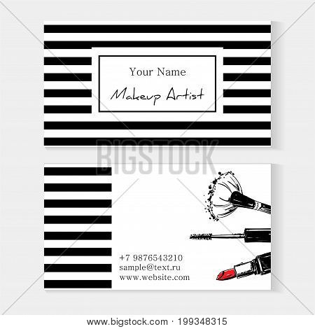 Makeup Artist Template Business Card. Striped Background With Red Lipstick Brush For Makeup, Mascara