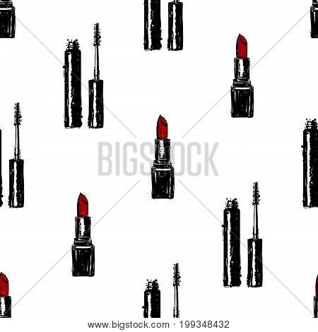 Seamless Vector Lipstick And Mascara Pattern. Hand Drawn Sketch Vector Illustration Red Lipstick And