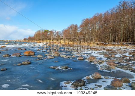 Icy sea with stones and blue sky. Icy coast. Shore in winter at daylight. Sea. Estonia.