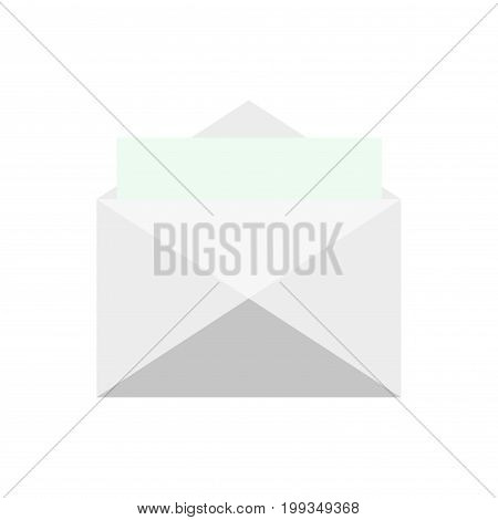 Opened and closed envelope with note paper card on white background, Mail icon, Vector, illustration, isolated