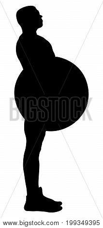 side view athlete powerlifter exercise deadlift black silhouette