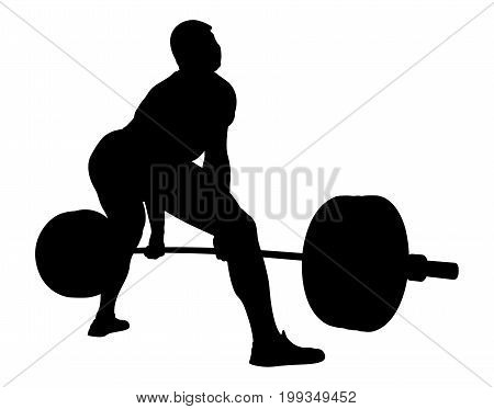 back athlete powerlifter exercise deadlift black silhouette