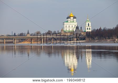 Orthodox churches of Kremlin in Pskov, Russia
