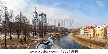 Panoramic vew of embankment and Kremlin in Pskov, Russia
