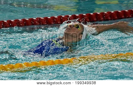 Hong Kong China - Oct 30 2016. Olympian swimmer Evelyn VERRASZTO (HUN) swimming in the 100m individual medley. FINA Swimming World Cup Preliminary Heats Victoria Park Swimming Pool.