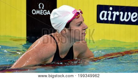 Hong Kong China - Oct 30 2016. Olympian and world champion swimmer Emily SEEBOHM (AUS) after the Women's Individual Medley 100m Preliminary Heat. FINA Swimming World Cup Victoria Park.