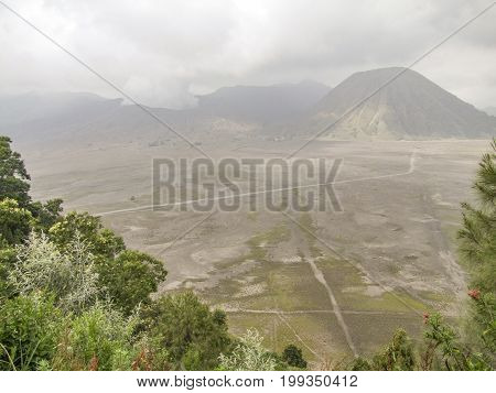 scenery around a volcano named Mount Bromo located in Java a island of Indonesia