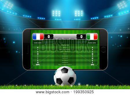 soccer football mobile live scoreboard vector illustration