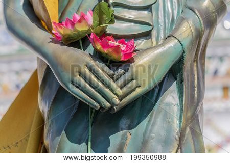 Close-up image, Lotus in hand of buddha