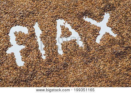 Flax Word Made From Flax Seeds On White Artist Canvas