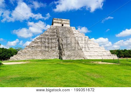 Ancient Mayan pyramid Kukulcan Temple at Chichen Itza Yucatan Mexico