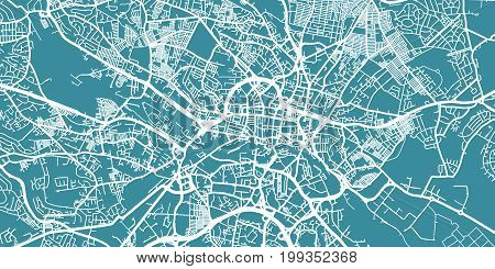Detailed vector map of Leeds, scale 1:30 000, England, UK