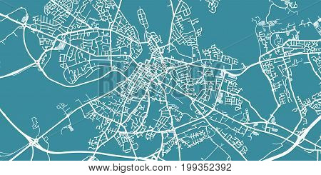 Detailed vector map of Limerick, scale 1:30 000, Ireland