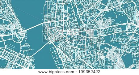 Detailed vector map of Liverpool, scale 1:30 000, England, UK