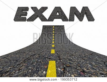 Exam Test Evaluation Road Words 3d Illustration