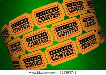 Customer Contest Clients Special Offer Tickets 3d Illustration