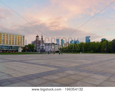The square in the central part of Warsaw in the evening