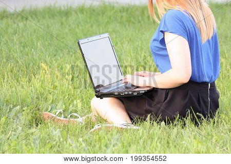 Training Concept. Girl And Laptop. Communication