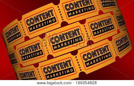 Content Marketing VIdeo Movie Tickets 3d Illustration