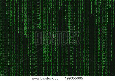 Binary code black and green background with digits on screen Concept of digital age. Algorithm binary data code decryption and encoding row matrix illustration background.
