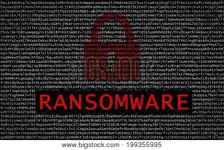 Ransomware Text With Red Lock Over Encrypted Text
