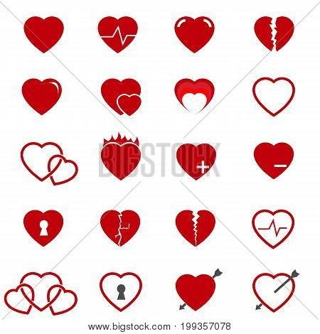 red heart icons on white set vector