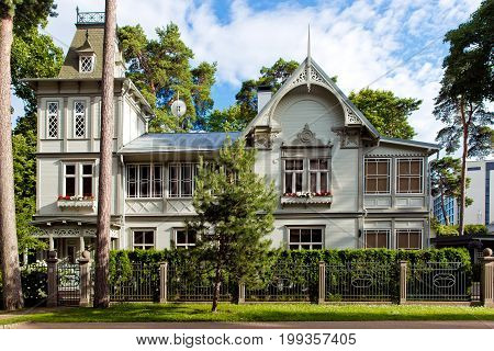 Typical wooden latvian houses, traditional Jurmala architecture