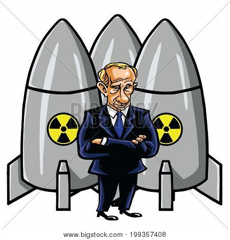 Vladimir Putin Cartoon with Nuclear Missiles. Vector Illustration. August 12, 2017